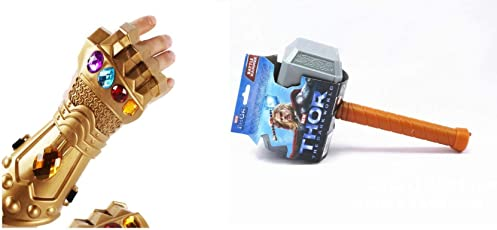 Fancydresswale Thor Hammer with Light and Sound (Battery not Included) (Hammer + Thanos Hand)