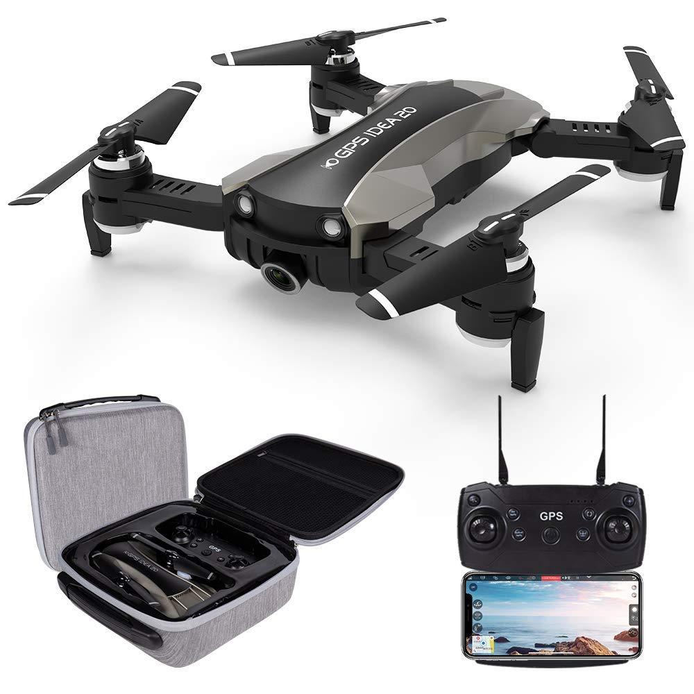 le-idea IDEA20 Drone con Camara HD, 4K Drones con Camara Profesional Estabilizador GPS, Quadcopter con Follow Me, Control Remoto, Altitude Hold, Modo Sin Cabeza y Retorno a Casa