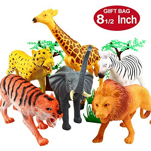 YeoNational & Toys Animal Figures, 20 cm Toy Animal Collection, Realistic Plastic Jungle Wild Dolls to Encourage Learning or Children's Holiday Gift - 12 uds