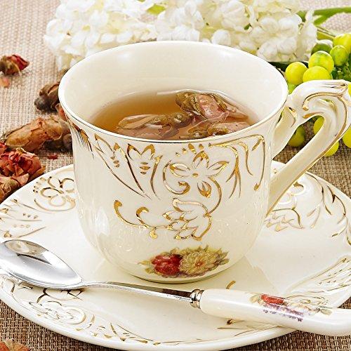 Panbado Porzellan Kaffeetasse mit Untertasse und Löffel für Kaffeeservice, Cremefarben