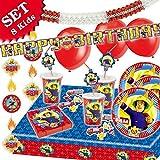 FEUERWEHRMANN SAM Geburtstag-Deko-Set, 72-teilig zum Kindergeburtstag Jungen und Mädchen und Feuerwehr-Motto-Party für 8 Kids