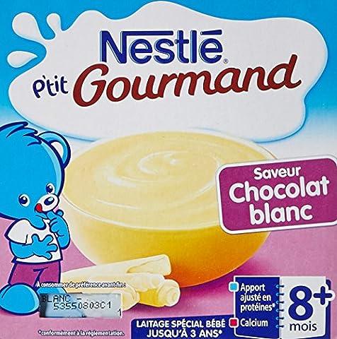 Nestlé Bébé P'tit Gourmand Coupelle de la Saveur Chocolat Blanc dès 8 mois 4 x 100g - Lot de 6