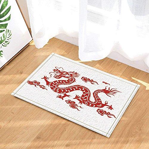BuEnn Asiatische Drache Rot chinesischer Drache gegen weißem Hintergrund Rutschhemmende Badematte...