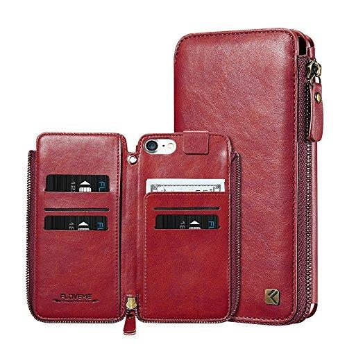 Phone Case & Hülle für iPhone 6 Plus & 6 s Plus Crazy Horse Textur Reißverschluss horizontale Flip schützende Ledertasche mit Kartensteckplätze & Wallet & Lanyard ( Color : Black ) Red