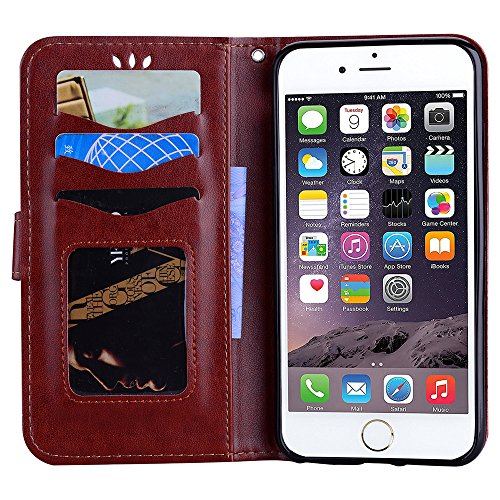 Custodia per iPhone 6S / iPhone 6, ESSTORE-EU Unicorn Design Premium Custodia in PU Pelle con Custodia Innominale Soft TPU, Unicorn Carino con Bling Bling Glitter Charming Scintillante Stella [Blu] Marrone