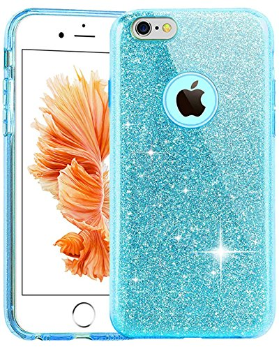 TOZO® Case for iPhone 6 Plus / 6S Plus SHINY SHADOW Series [Bling Crystal] Ultra Thin Sparkle Premium 3 Layer Hybrid Semi-transparent / Exact Fit / Soft Case for iPhone 6 Plus (2014) / 6s Plus (2015)  Blue