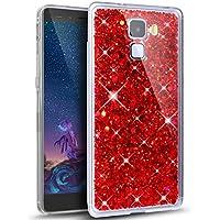 Ikasus® - Carcasa ultradelgada de suave silicona TPU flexible y transparente, con partículas brillantes de estilo purpurina en el interior, para Huawei Honor 7, rojo, Huawei Honor 7 case