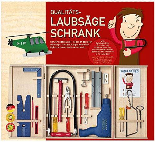 matches21 Großer Werkzeugschrank für Kinder inkl. Bohrmaschine mit Batterie, Kinderwerkzeugen und...
