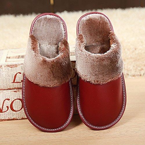 Fankou Baotou vacchetta inverno pantofole di cotone home scarpe indoor tendine di manzo fondo scarpe caldo inverno Hellbraun