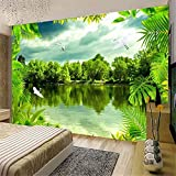 YBHNB 3D Sol Abstrait Art Mural, Photo 3D personnalisé Fond d'écran Tropical Rain Forest Vert Paysage Naturel Photographie Fond Decor Mur Peinture Grandes peintures murales,350X250CM