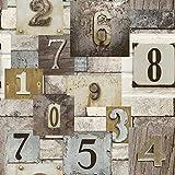 WAWDH Tapete Vintage Distressed Holz Pvc Verwitterte Wandbild 3D Grau/Braun/Beige Wohnzimmer Schlafzimmer Hauptdekoration Wandaufkleber 33Ft X 1,74Ft = 57,4