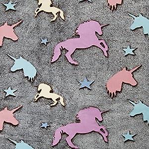 Kuscheldecke mit LEUCHTENDEN Sternen und Einhörner LICORNE   Decke 160x130cm Einhorn Stern Krabbeldecke (Einhorn)
