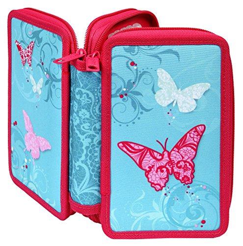 Scooli BUKR0430 - Doppeldecker Schüleretui Butterfly mit Stabilo - Markenfüllung