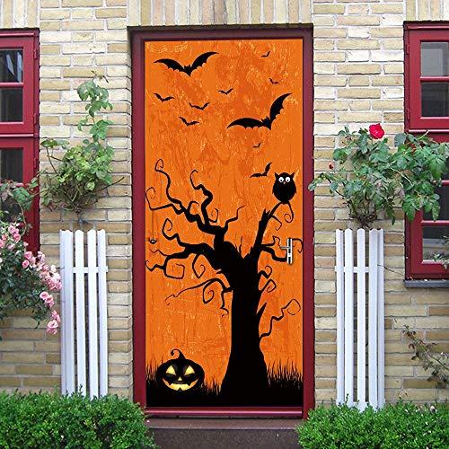 ZHANGDONGLAI Türaufkleber Dämon Kürbis Bat Halloween Baum Aufkleber Fenster Kleidung Glas 3D Tür Aufkleber Wanddekor Wohnzimmer Küche Schlafzimmer Badezimmer Tapete 77 * 200Cm