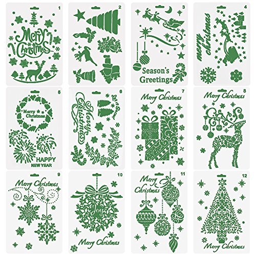 Vitasemcepli Set di 12 Stencil Natale Stencil Alfabeto e Numero per la Carta di Creazione/Scrapbooking/Decorazini,Ottimo Regalo e Fai da Te per Famiglia Studenti Bambini Figli(Include 10 pennelli)