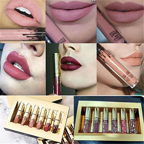 Honosu Lippenstifte Liquid Matt Lip Gloss Dauerrhaft Lip Liner Make up 6 Stück