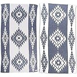 [Patrocinado]Bersuse 100% Algodón - Tulum Toalla Turca - Certificado OEKO-TEX - Fouta Peshtemal para Baño en la Playa - Pestemal de Diseño Tribu Etnica Mano - 100X180 cm, Azul Oscuro