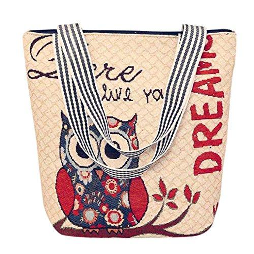 Retro Canvas Handtasche HARRYSTORE Damen Owl Printed Canvas Cartoon Handtasche Schultertasche Umhängetasche Damen Satchel Tote Bags (E) (Hobo-handtaschen-taschen Gesteppte)