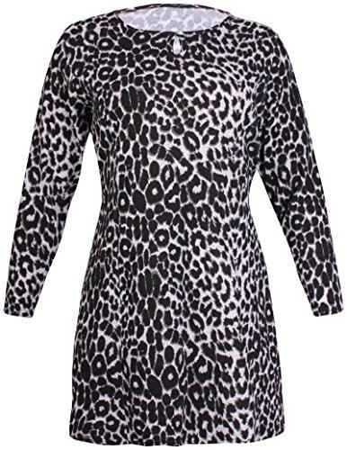Damen Tier-/ Leopard-aufdruck Damen Stretch Runder Halsausschnitt Schlüsselloch Raffhalter Swing Minikleid Top Übergröße Schwarz & Grau Leopard