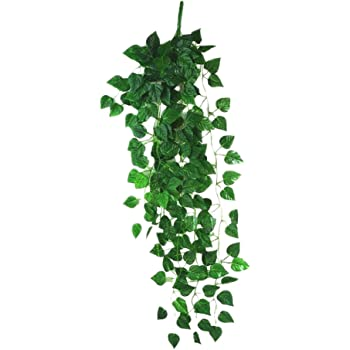 Fanuk Atificial Fake Hanging Vine Plant Leaves English Ivy Garland Bouquet Home Garden Wall Decoration for Wedding Decoration Pack of 2 (Green)