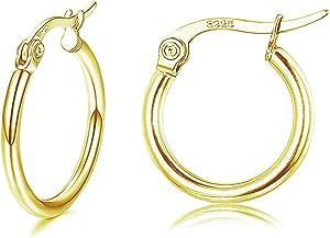 LOLIAS Orecchini a Cerchio Piccolo Argento 925 per Donna Ragazze Orecchini a Bottone Huggie Cartilagine Orecchini a Cerchio Huggie Orecchini Ipoallergenici Argento/Oro/Oro rosa