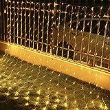 VINGO 3 * 2M LED Lichternetz Lichterkette mit 204 LEDs Weihnachten mit Steuerbox Netz-ineinander greifen