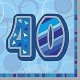Unique Party 28461 - Serviettes en Papier - Glitz 40e Anniversaire - Paquet de 16 - Bleu