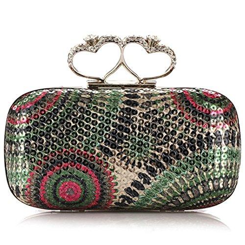 ERGEOB® Femmes Pochette sac de soirée Sac à main Sac à bandoulière Clutch Sacs Bunte Pailletten Tissé Blingbling Style vert