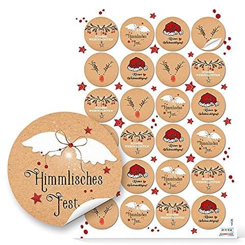 NEU 2017: Set mit 48 Stück rot schwarz weiß braune Weihnachtsaufkleber Aufkleber Geschenkaufkleber 4 cm rund, Kraftpapier-Optik 4 Motive mit Text Frohe Weihnachten Frohes Fest