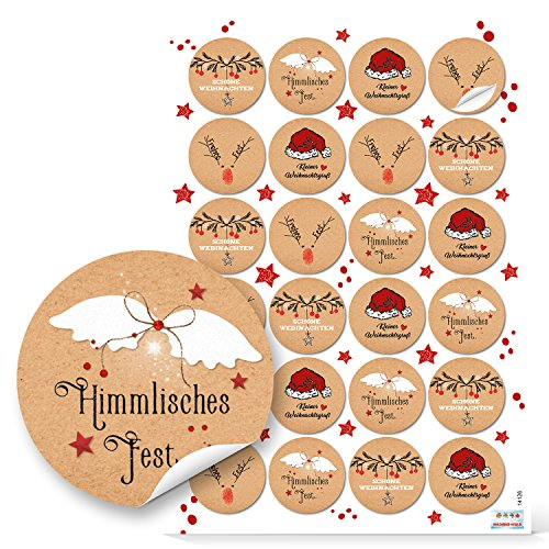 2018 : 48 autocollants ronds de Noël Rouge/blanc naturel Avec étiquettes en papier de 4 cm