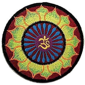 Yoga Lotus vert Om méditation spirituelle indoue Hippie Hartha Yoga Inner Peace Patch ''8 x 8 cm'' - Écusson brodé Ecussons Imprimés Ecussons Thermocollants Broderie Sur Vetement Ecusson