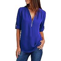 Yuson Girl Bluse e Camicie 2018 Felpa Donna Magliette Manica Lunga e Zip Eleganti Casual T-Shirt Taglie Forti Sciolto…