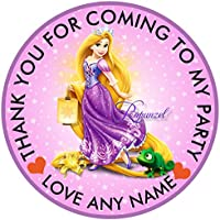 30xPersonalised Disney Princess Rapunzel 50mm 2 Party Stickers Thank You Labels