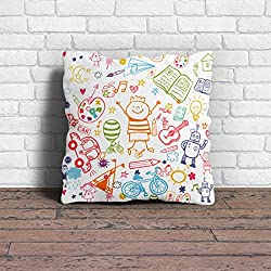 Cushion Cover | Digital Printed Pillow cover 12x12 with Filler Ideal For Kids Room decoration, Christmas Decorations by 100yellow