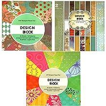 3 x Vintage Scrapbooking Papier Motivblock Designpapier Bastelpapier - insgesamt 108 Seiten - 54 Motive - Papiergewicht ca. 210 g/m² - 3 Blocks mit je 36 Seiten