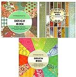 trends4ever 3 x Vintage Scrapbooking Papier Motivblock Designpapier Bastelpapier - Insgesamt 108 Seiten - 54 Motive - Papiergewicht ca. 210 g/m² - 3 Blocks mit je 36 Seiten