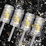 4 Push-Pop Konfetti-Shooter Gold & Silver Celebration - der Trend aus den USA - für Hochzeit, Geburtstag, Silvester & Party