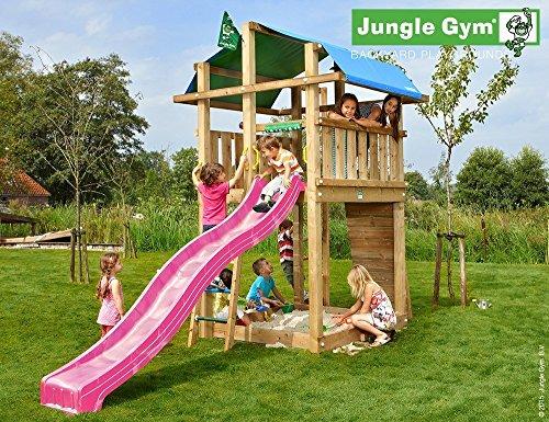Jungle Gym Spielturm Fort - 3 m Rutsche Sandkasten Kletterturm Kletterwand