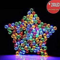 RECESKY Solar de Navidad luces 22m 200 LED hada Solar cadena luces ambiente luces para al aire libre, jardines, Fiesta, casas, boda, fiesta de Navidad decoración de (Color Multi-)