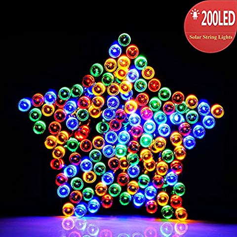 RECESKY Impermeabile Luce Stringa LED per Esterni ad Energia Solare 200 LED 22m Luci LED Solari per Giardini, Balconi, Natale, Feste, Matrimoni, Albero di Natale (multicolore)