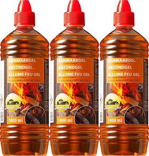 Gel allume-feu pour tous types de charbons - Pâte de combustion 1000 ml - Gel d'allumage liquide pour barbecue et cheminée Sans odeur 3 Liter