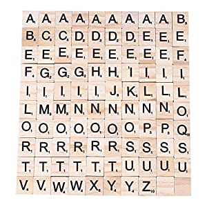 Peradix 100pcs diy scrabble tiles for crafts wooden for Small wooden numbers craft