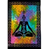 Tapestry Lovers Exclusive 7 Chakras Meditating Yoga Artwork Tapestry Decoration Poster Budha Poster For Bedroom,Buddha Tapestry, Poster Tapestry, Tie Die Poster 30x40 Inches (Multi)