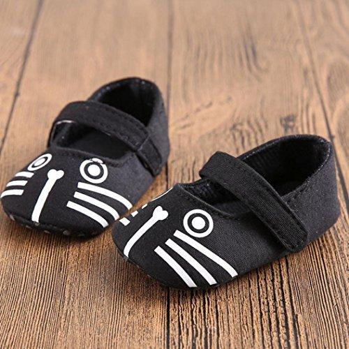 Babyschuhe Longra Baby Kleinkind weiche alleinige lederne Schuh Säuglings jungen Mädchen Prewalker warme lauflernschuhe krabbelschuhe(0-18Monate ) Black