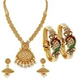 Sukkhi Dazzling Pearl Gold Plated Wedding Jewellery Kundan Peacock Meenakari Necklace Set & Kada Combo For Women (CB73405)