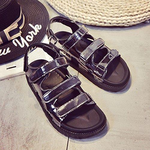 Lgk & fa estate sandali sandali da donna, da donna, suola scarpe suola tacco Leather gun color