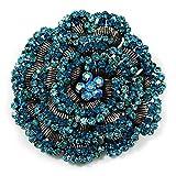 Spilla Spettacolare Rosa diamantata Blu Aqua (tono argento anticato)
