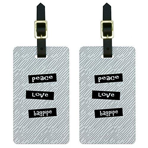 Peace Love Dudelsack Gepäck Koffer Handgepäck ID-Tags Set von 2