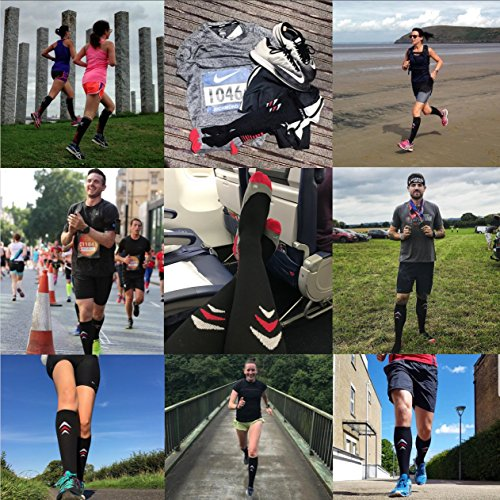 Compression Socks (Cushioned, Graduated Compression, Unisex for Men and Women) (One Pair) (Black) (UK 10.5-13 / EU 45-47)