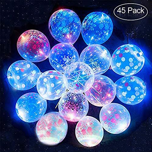 Blumen LED leuchten Party Glow in The Dark Luftballons Party Dekrationen für Weihnachten, Feier, Geburtstag, Hochzeit usw. (45 + 5 kostenlose PCS) ()